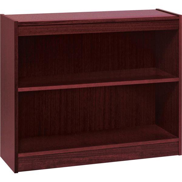 Lorell Panel End 2-Shelf Hardwood Veneer Bookcase