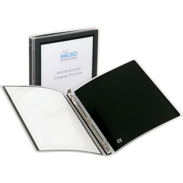"Avery Flexi-View Binder w/Round Rings, 11 x 8 1/2, 1/2"" Cap, Black"