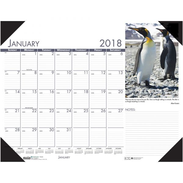 House of Doolittle Beautiful Wildlife Photographic Monthly Desk Pad Calendar