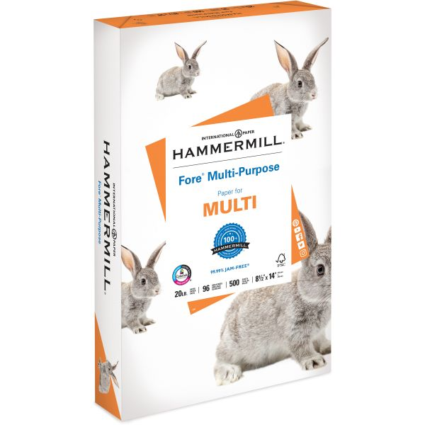 Hammermill Fore MP Multipurpose Paper, 96 Brightness, 20 lb, 8 1/2 x 14, White, 500 Sheets/Ream