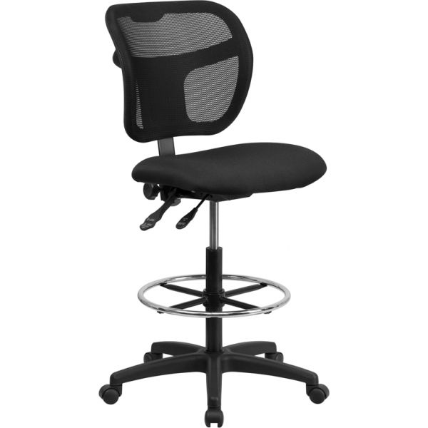 Flash Furniture Mid-Back Mesh Drafting Stool
