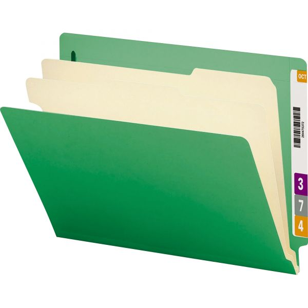 Smead Green 2-Divider End Tab Classification Folders