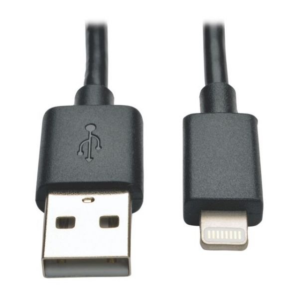 Tripp Lite USB Sync/Charge Cable with Lightning Connector - Black, 10-in