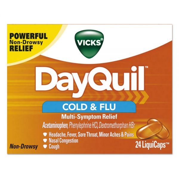 Vicks DayQuil Cold & Flu LiquiCaps, 24/Box, 24 Box/Carton