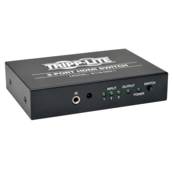 Tripp Lite 3-Port HDMI Video Switch 3 to 1 w/ IR Remote 1080p Resolution