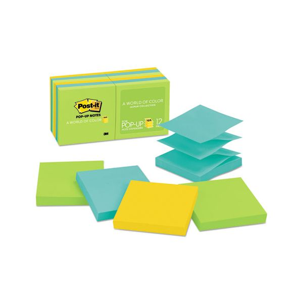 Post-it Pop-up Notes Original Pop-up Refill, 3 x 3, Assorted Jaipur Colors, 100-Sheet, 12/Pack