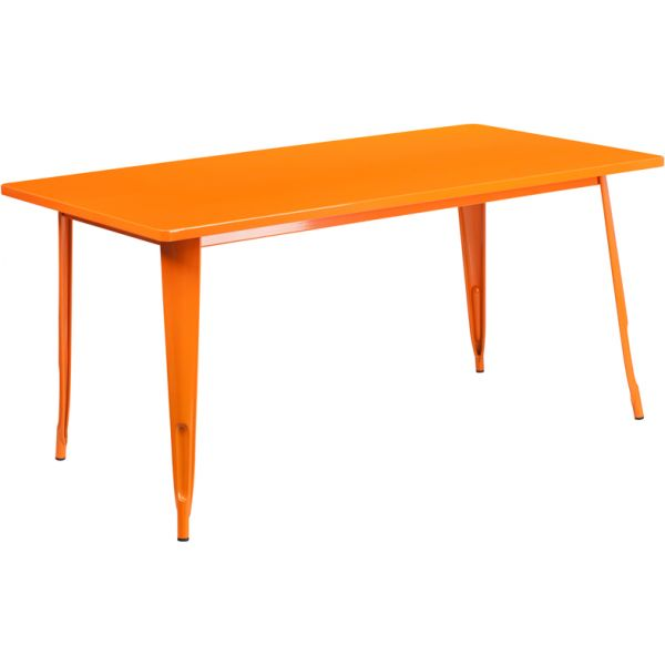 Flash Furniture 31.5'' x 63'' Rectangular Orange Metal Indoor-Outdoor Table