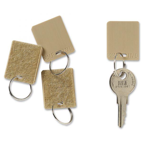 "SteelMaster Hook & Loop Fastener Replacement Key Tag, 1 1/4"", Square, Tan, 12/PK"