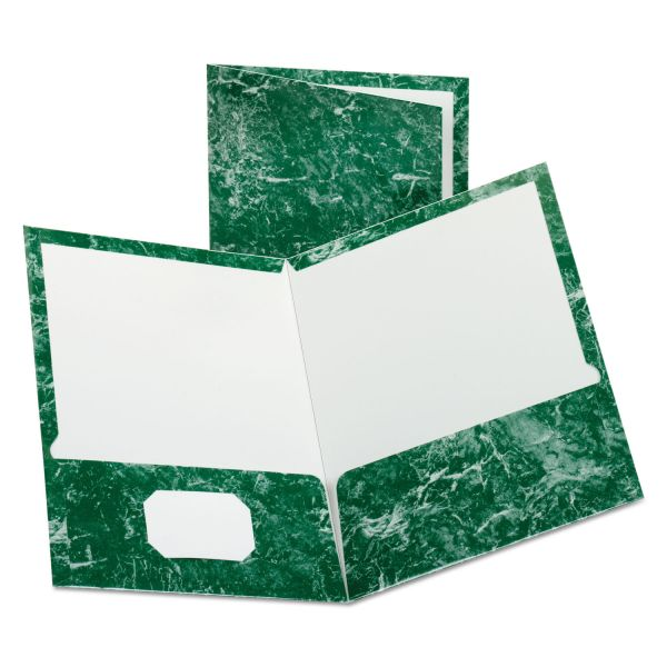 Oxford Marble Design Laminated High Gloss Twin Pocket Folder, 100-Sheet Capacity, Emerald Green, 25/Box