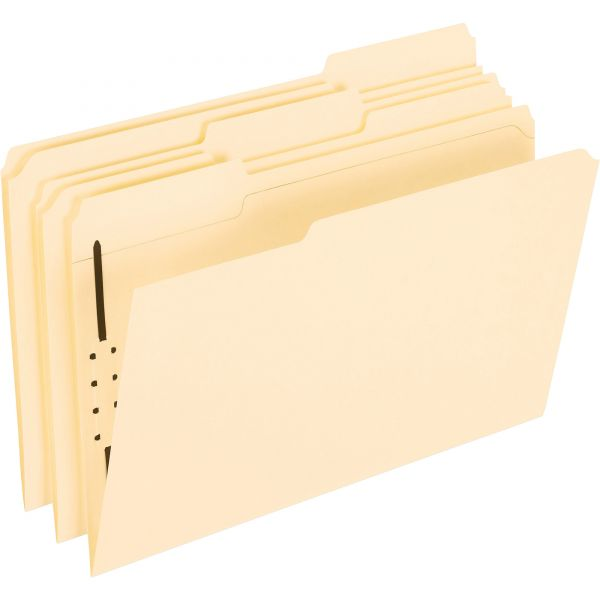 Pendaflex Fastener Folders, 1 Fasteners, 1/3 Cut Tabs, Legal, Manila, 50/Box
