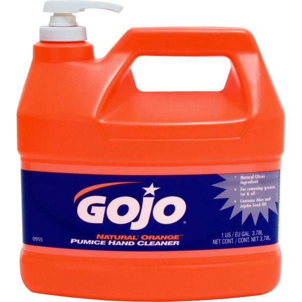 GOJO NATUAL ORANGE Pumice Hand Cleaner, Orange Citrus, 1gal Pump, 4/Carton