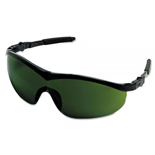 MCR Safety Storm Safety Glasses, Black Frame, Green 3.0 Lens, Nylon/Polycarbonate