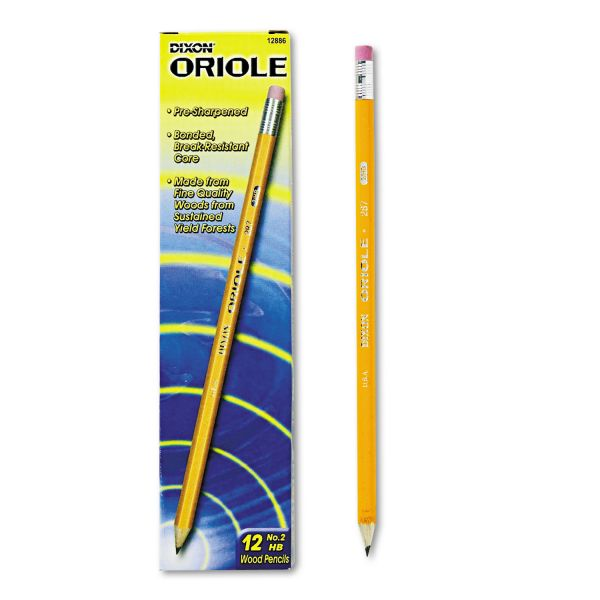 Dixon Oriole Pre-Sharpened #2 Wood Pencils