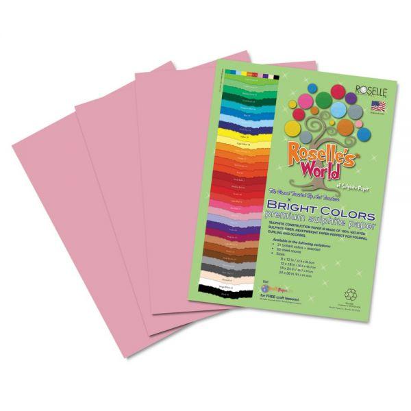 Roselle Premium Sulphite Pink Construction Paper