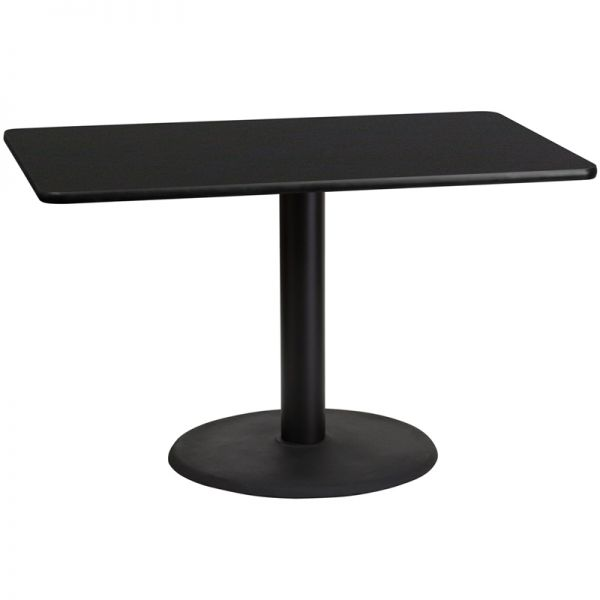 Flash Furniture 30'' x 48'' Rectangular Black Laminate Table Top with 24'' Round Table Height Base