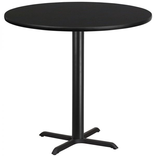 Flash Furniture 42'' Round Black Laminate Table Top with 33'' x 33'' Bar Height Table Base