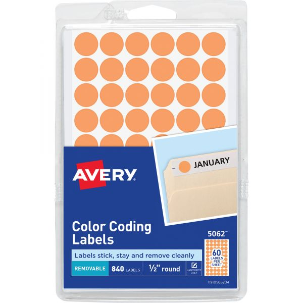 """Avery Handwrite Only Removable Round Color-Coding Labels, 1/2"""" dia, Neon Orange,840/PK"""