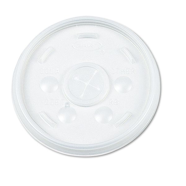 Dart Plastic Lids, Straw Slot, Fits 32oz Hot/Cold Foam Cups, White, 500/Carton