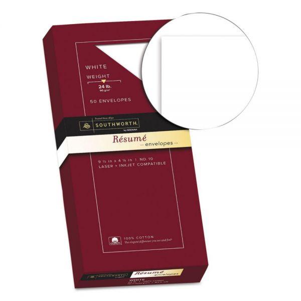 Southworth 100% Cotton #10 Resume Envelope, 4 1/8 x 9 1/2, White, 24lb, Wove, 50/Box