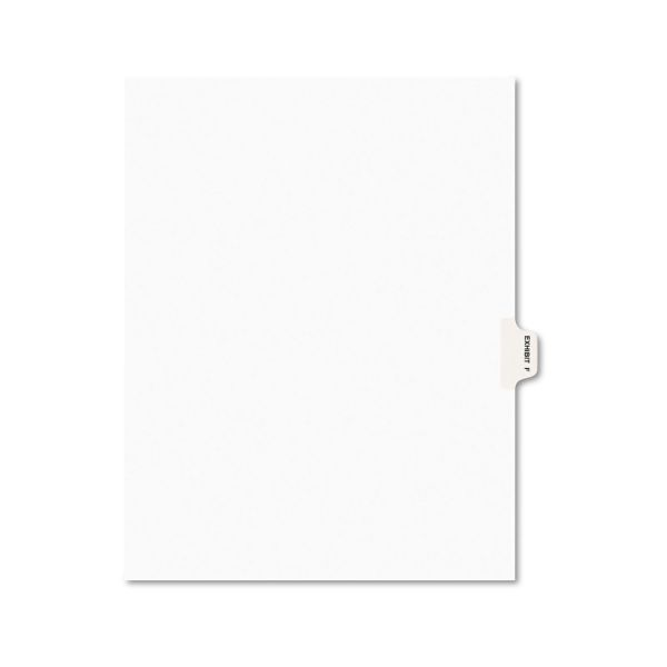 Avery Avery-Style Preprinted Legal Side Tab Divider, Exhibit F, Letter, White, 25/Pack