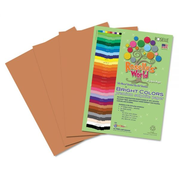 Roselle Premium Sulphite Brown Construction Paper