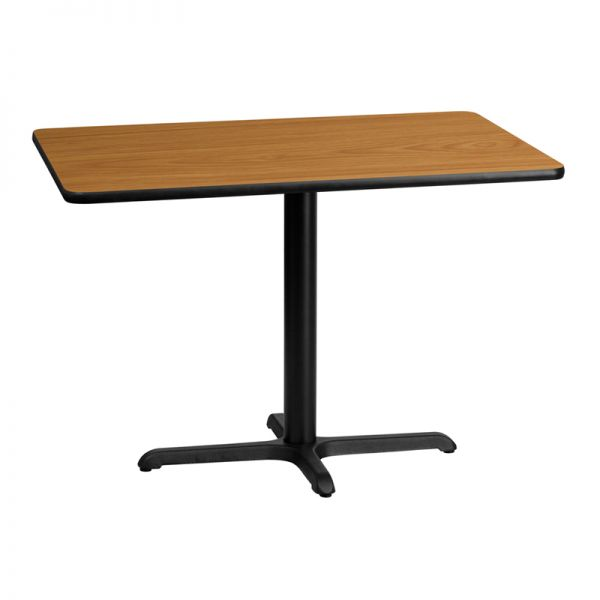 Flash Furniture 30'' x 42'' Rectangular Natural Laminate Table Top with 22'' x 30'' Table Height Base