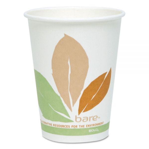 Dart Bare by Solo Eco-Forward PLA Paper Hot Cups, 12 oz, Leaf Design, 50/Pack