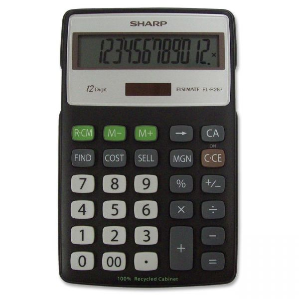 Sharp EL-R287BBK Recycled Series Calculator w/Kickstand, 12-Digit LCD