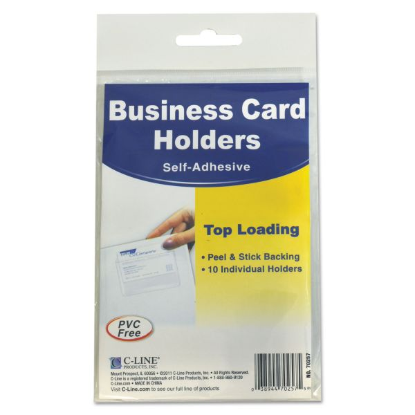 C-Line Self-Adhesive Business Card Holders, Top Load, 3 1/2 x 2, Clear, 10/Pack