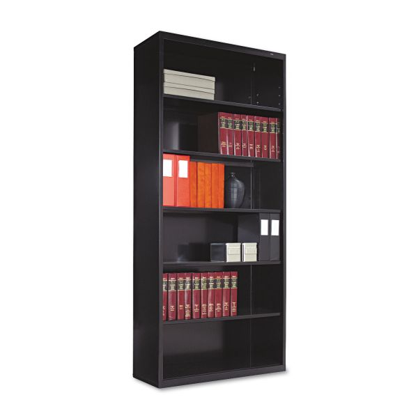 Tennsco Metal Bookcase, Six-Shelf, 34-1/2w x 13-1/2d x 78h, Black