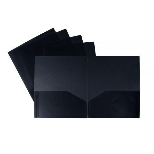 Storex Thicker Poly Black Two Pocket Folders