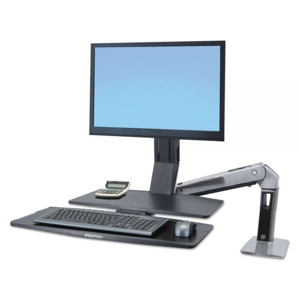 Ergotron WorkFit-A Sit-Stand Workstation w/Worksurface+, LCD HD Monitor, Aluminum/Black