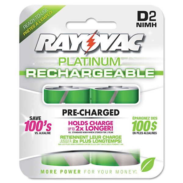 Rayovac Platinum Rechargeable D Batteries