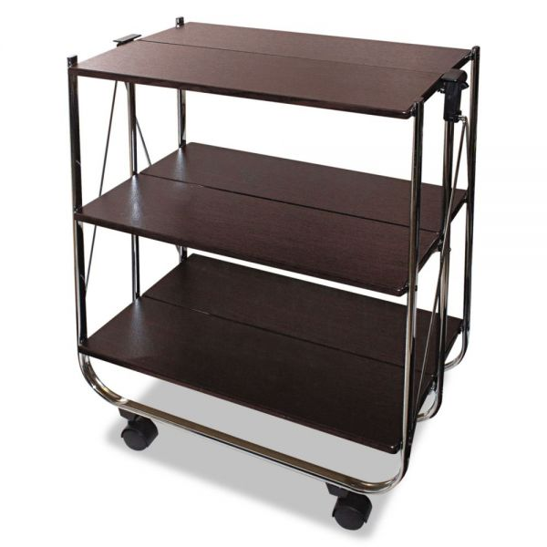 Vertiflex Click-N-Fold Utility Cart, 26 1/2w x 15 3/4d x 31 1/2h, Chrome/Brown