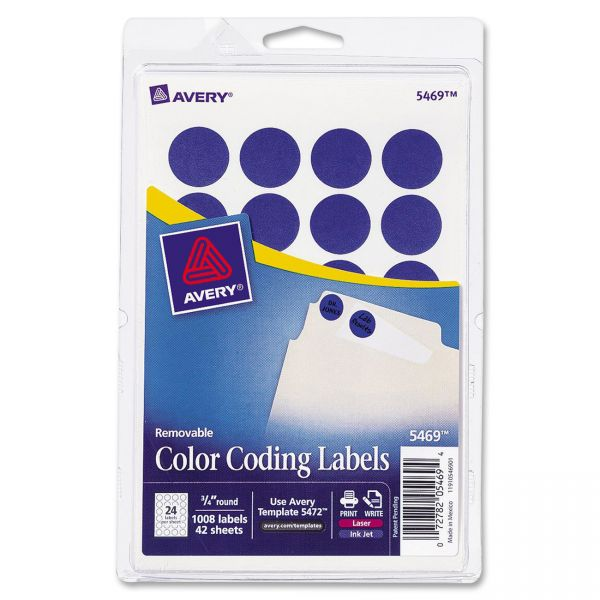 """Avery Printable Removable Color-Coding Labels, 3/4"""" dia, Dark Blue, 1008/Pack"""