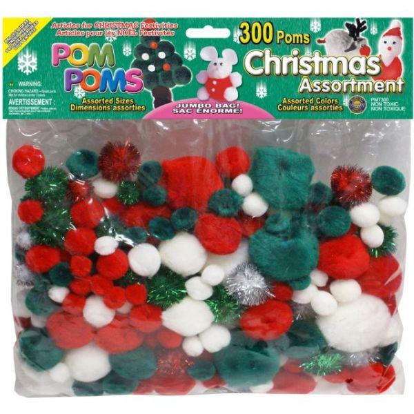 Pom-Poms Assorted 300/Pkg