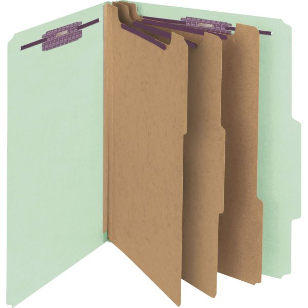 Smead Pressboard Classification Folders, Letter, Eight-Section, Gray/Green, 10/Box