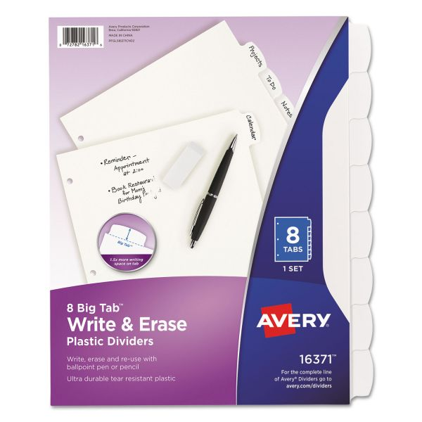 Avery Write & Erase Big Tab Plastic Index Dividers