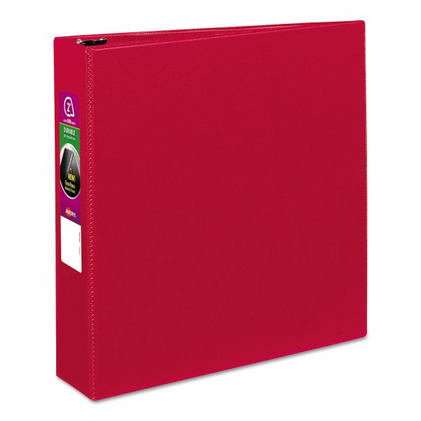 "Avery Durable 3-Ring Binder, 2"" Capacity, Slant Ring, Red"