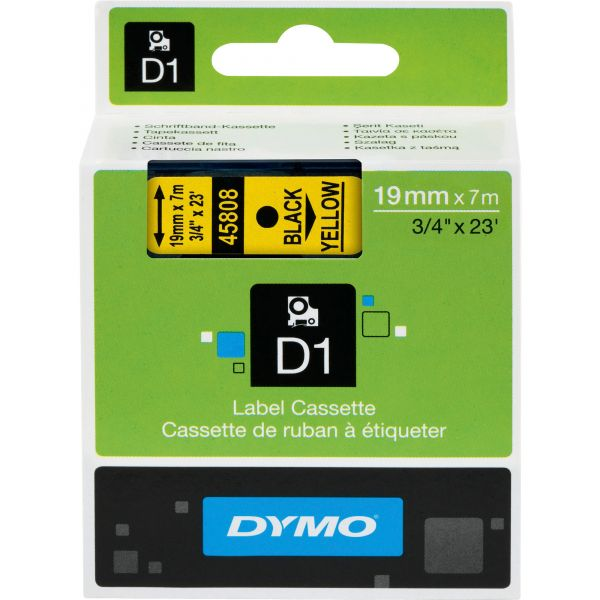 DYMO D1 High-Performance Polyester Removable Label Tape, 3/4 x 23 ft, Black on Yellow