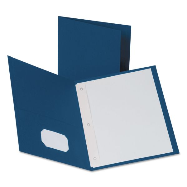 Oxford Blue Two Pocket Folders with Fasteners