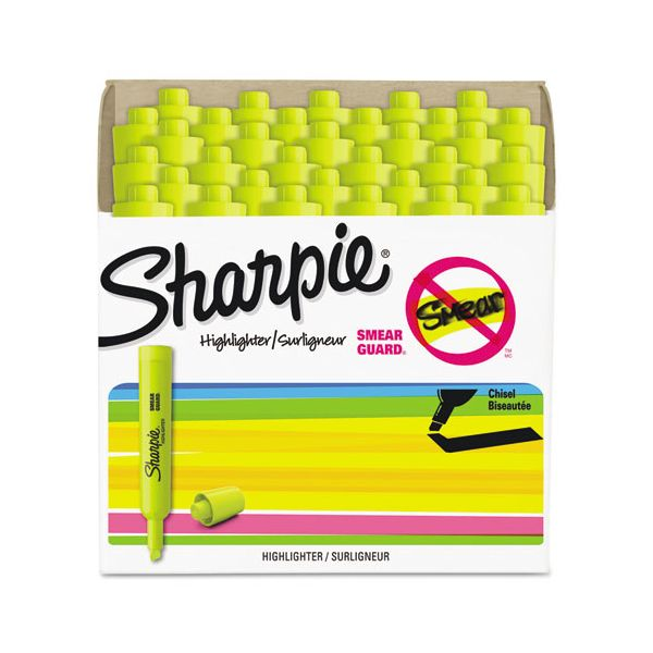 Sharpie Accent Tank Style Highlighter, Chisel Tip, Fluorescent Yellow, 36/Box