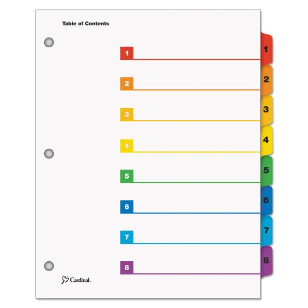 Cardinal OneStep Printable 8-Tab Numbered Dividers With Table Of Contents Page