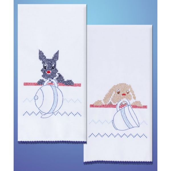 "Stamped Kitchen Towels For Embroidery 17""X30"" 2/Pkg"