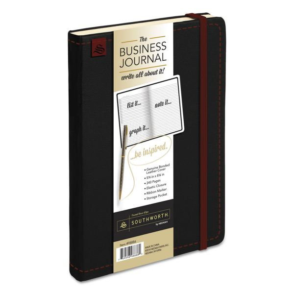 Southworth Business Journal, Ruled, 8 1/4 x 5 1/8, Black Cover, 240 Sheets