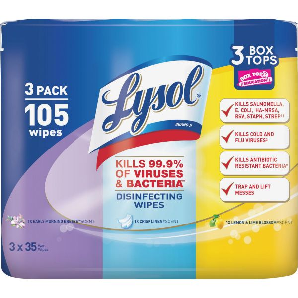 Lysol Disinfecting Wipes Disinfecting Wipes, Crisp Linen/Early Morn/Lemon Lime, 7 x 8, 4/Carton