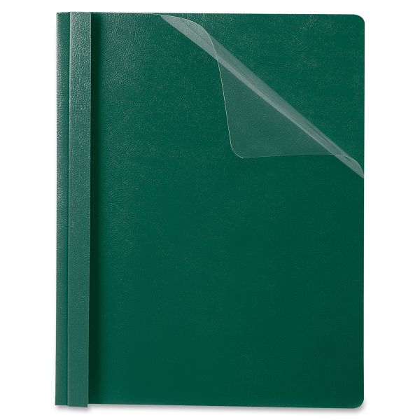 Oxford Premium Paper Clear Front Cover, 3 Fasteners, Letter, Green, 25/Box