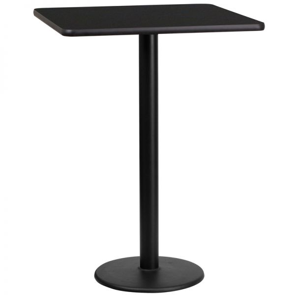 Flash Furniture 24'' Square Black Laminate Table Top with 18'' Round Bar Height Table Base
