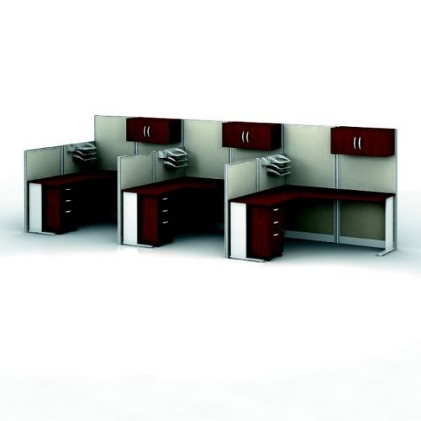 bbf Office-in-an-Hour 3 L-Workstation Configuration - Hansen Cherry finish by Bush Furniture