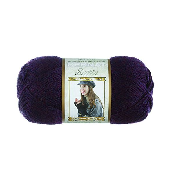 Bernat Satin Yarn - Plum Mist Heather